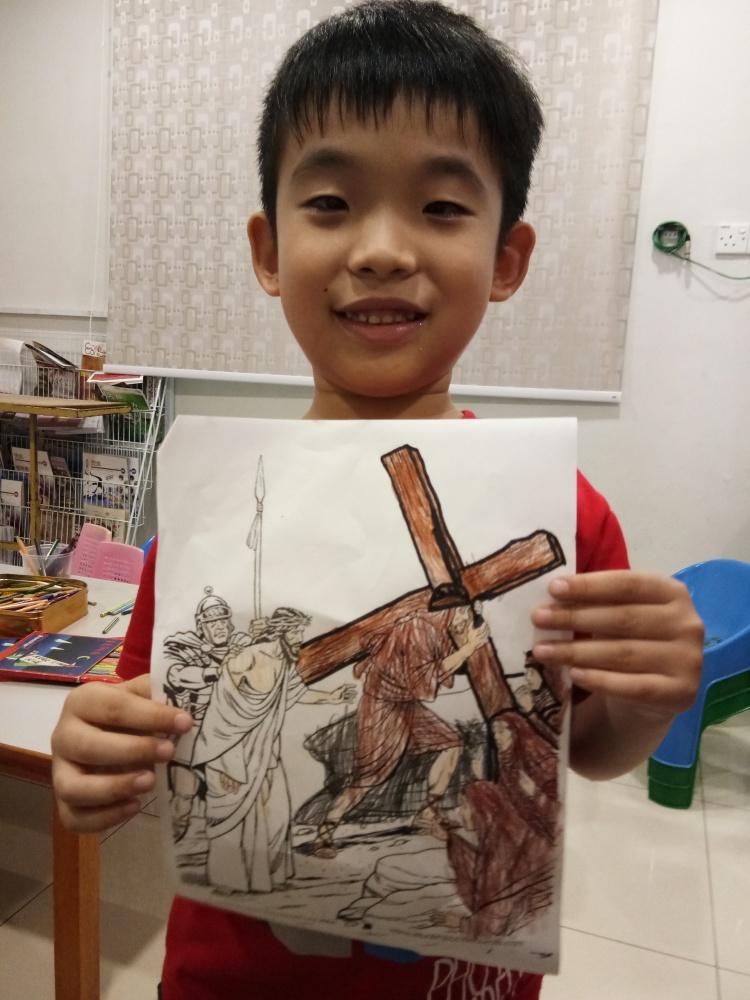 苏雅喜乐堂 里 崇拜时的儿童班 各各他 山上 的 三个十字架 耶稣与强盗 A02