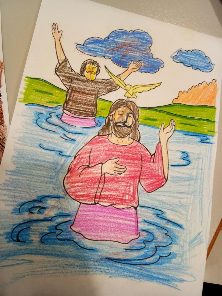 苏雅喜乐堂 里 崇拜时的儿童班 各各他 山上 的 三个十字架 耶稣与强盗 A09